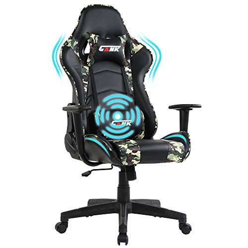 Gank Gaming Chair Racing Office Computer Ergonomic Video Game Chair Backrest and Seat Height Adjustable Swivel Recliner with Headrest and Lumbar Pillow Esports Chair (amouflage-09)