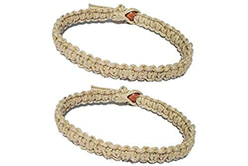 Luos Cultural Goods Two Natural Hemp Surfer Hawaiian Style Bracelet Anklet - Handmade- (A Set of 2)