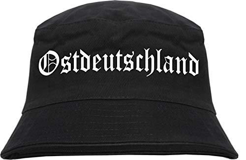 Ostdeutschland Fischerhut - Altdeutsch - Bedruckt - Bucket Hat Anglerhut Hut L/XL Schwarz