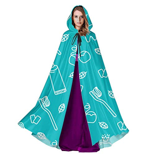 Toothbrush and Toothpaste Unisex Hooded Cloak Mens Cloak with Hood 59inch for Christmas Halloween Cosplay Costumes