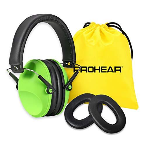 Prohear 0322 Gehoorbescherming voor kinderen met SNR 29dB gehoorbescherming, verstelbare hoofdbeugel, opvouwbare geluidsbescherming, hoofdtelefoon oorbescherming met verwisselbare oorkussens groen