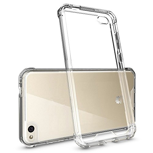 REY Funda Anti-Shock Gel Transparente para Huawei P8 Lite 2016, Ultra Fina 0,33mm, Esquinas Reforzadas, Silicona TPU de Alta Resistencia y Flexibilidad, Anti Golpes