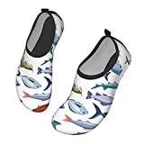 Nicokee Zapatos de agua de pescado salmón anchoa bacalao lubina mar perca sardina animal playa Aqua Yoga calcetines para hombres mujeres, color,...