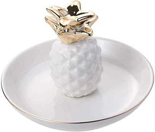 UMNALNI3 Keramik Schmuck Schale Ananas Ringhalter für Halskette Armband Ohrringe Ringe Organizer