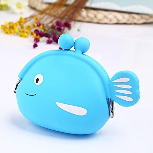 ZHOUSAN Porte-monnaie tendance mignon Kawaii en forme de poisson pour femme et fille - Petit portefeuille en silicone souple pour écouteurs Bluetooth