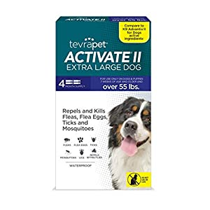 TevraPet Activate II Flea and Tick Prevention for Dogs – 4 Months Topical Flea and Tick Treatment and Control, 55+ lbs