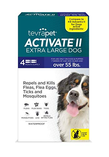 TevraPet Activate II Flea and Tick Prevention for Dogs | 4 Months Supply | Extra Large Dogs 55+ lbs | Medicine for Treatment and Control | Topical Drops
