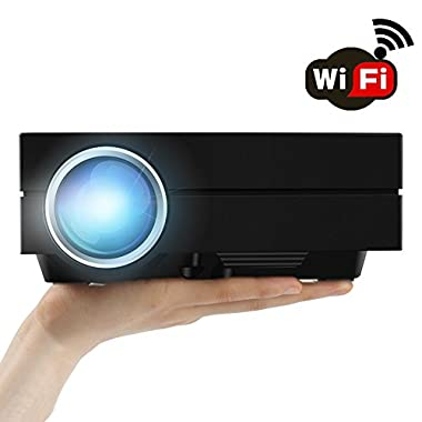 WiFi Wireless Projector (Warranty Included), Support HD 1080P Video, ERISAN Updated Mini LED LCD Portable Projector Multimedia Home Movie Cinema For Video Game DVD PC Laptop PS Xbox WII