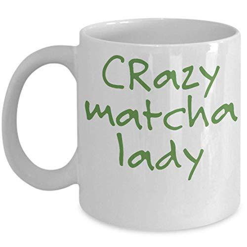 N / A Match Lady Becher, Crazy Matcha Lady, Matcha Lovers Geschenk, lustiges Geschenk, Keramik Kaffeetasse, Coco Tea Matcha, Grüntee Becher, Grüntee Liebhaber