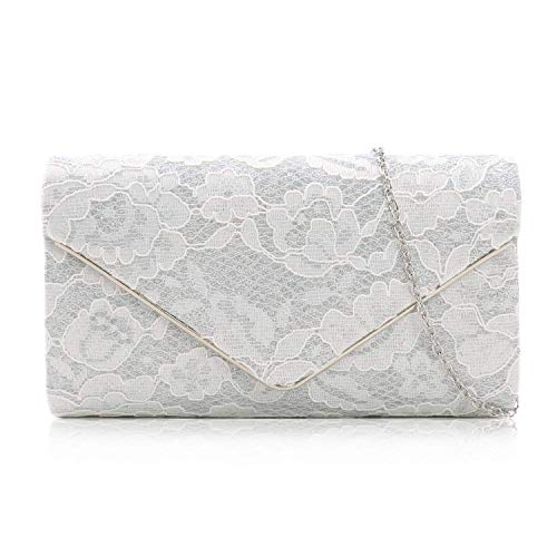 Milisente Clutch Purses For Women Glitter Lace Clutches Evening Bag Floral Pattern Handbags For Wedding And Party(White)