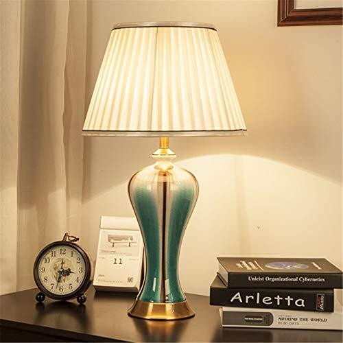 LFANH 23.6'Lámpara De Mesa De Cerámica LED Tradicional para Dormitorio, Sala De Estar, Oficina, Dormitorio Universitario, Mesa De Centro, Librería, Azul