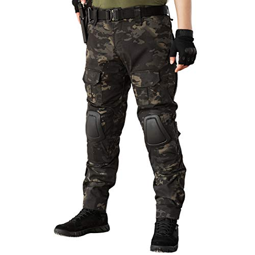IDOGEAR G2 Combat Pants Multicam Men Pants with Knee Pads Airsoft Hunting Military Paintball Tactical Camo Trousers (Multicam Black, 30W/31L)