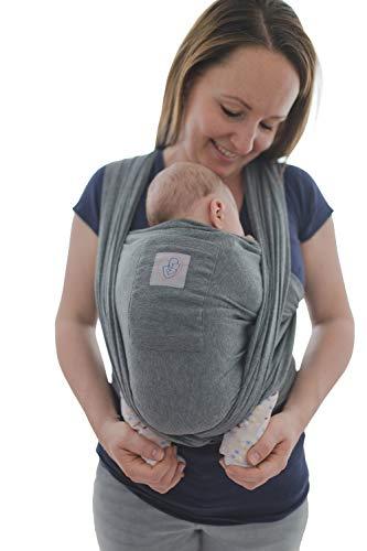 Babytragetuch mit Vordertasche inkl. Baby Wrap Carrier Tasche und Anleitung - langes elastisches Tragetuch für Früh- und Neugeborene Kleinkinder (Grau)