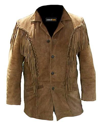 Native American Jacket Genuine Suede Leather Jacket with Fringe Cowboy Western Stylish Coat Black
