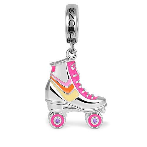 GNOCE Pink Rollschuhe Charm Anhänger aus 925 Sterlingsilber Schuh Charm Anhänger Rosa Emailliert Bestes Geschenk für Kinder Mädchen