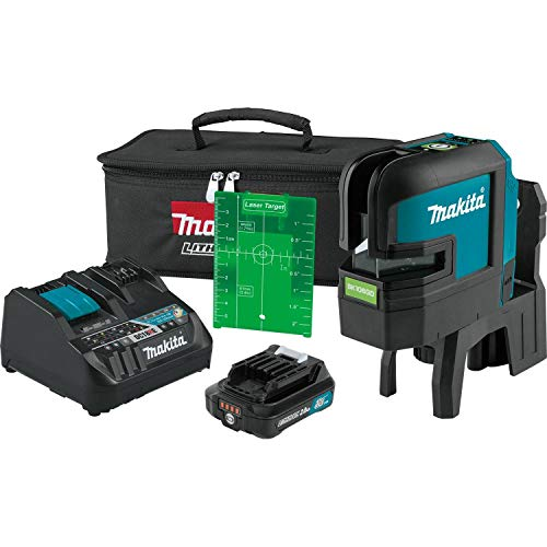 Makita SK106GDNAX 12V max CXT Lithium-Ion Cordless Self-Leveling Cross-Line/4-Point Green Beam Laser Kit (2.0Ah)