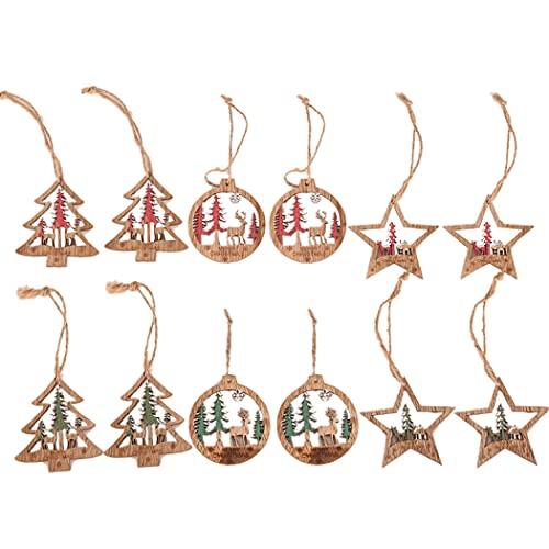 ZOYLINK Albero Di Natale Ornamento Legno 12 Pz Cartone Animato Fai Da Te Retrò Piccolo Festivo Hollow Xmas Tree Decor Star Renna