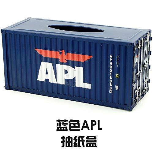 Joeesun Taschentücherbox American Creative Retro Drawing Box handgefertigter Schmiedeeisenbehälter Modellierpapierbox dekorative Ornamente blau APL_ Pumpschale