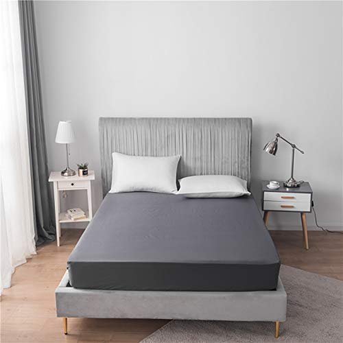 HAIBA Sábana bajera de algodón suave y resistente, bolsillo profundo, ligeramente cepillado, totalmente elástica, color negro, 78 x 80 + 12 (198 x 203 + 30 cm)