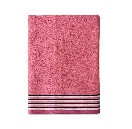 Exotic Cotton Toalla de Ducha de 70 cm x 140 cm - Toalla de Baño Algodón 100% de Rizo Americano - 1 Toalla de Ducha con Diseño Bordado - Tacto Suave y sin Pérdida de Color - Toalla Rosa