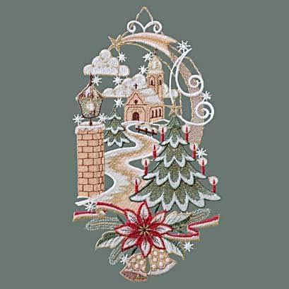 Raebel Fensterbild Spitze Plauener Stickerei Weihnachten Spitzenbild Fensterdeko Kirche + Saugnapf