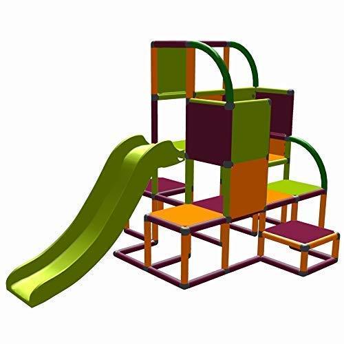 move and stic Helge großer Spielturm / Kletterturm mit Rutsche für Kleinkinder (orange Magenta apfelgrün)