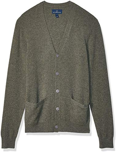 Amazon Brand - Buttoned Down Men's 100% Premium Cashmere Cardigan Sweater, Olive Large
