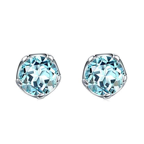 JY Novedad Joyería - Pendientes de peridoto redondos de plata esterlina .925 para mujer Pendientes de botón/Azul