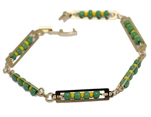 Diamantados of Florida Mano de Orula - Pulsera de 19 cm chapada en oro de 18 quilates - Mano de Orula verde y amarillo 5 mm