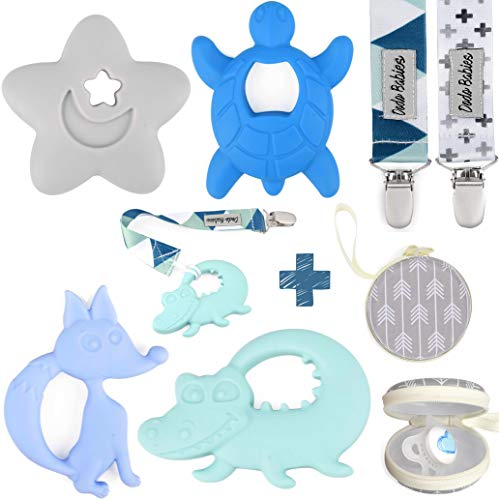 Teething Toys by Dodo Babies Pack of 4  2 Pacifier Clips and A Pacifier Case Premium Quality Animals Teether Pain Relief for Boys and Girls Chew Toy or Soothie Baby Shower Gift Set