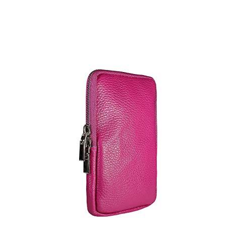 SKUTARI CUERO CELLULARE Funda para teléfono móvil para mujer, cuero genuino, bolso de hombro, billetera, bolso de cuero para teléfono móvil con correa extra larga, MADE IN ITALY