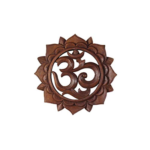 Om Símbolo, aum 'caracteres Mandala Relief Mantra sánscrito Deva nagari Deko Soar Madera redondo, marrón, 15 cm Ø