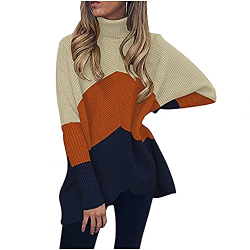 SHIZUANYUE - Jersey para mujer, informal, suelto, de manga larga, elegante, cuello alto, estilo Batwing Oversize, naranja, M
