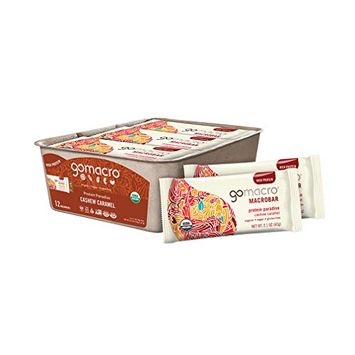 GoMacro MacroBar Organic Vegan Protein Bars - Cashew Caramel (2.1 Ounce Bars, 12 Count)