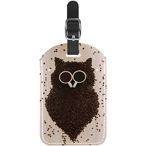 Kofferanhänger, Kaffeebohnen-Eule, Leder, 1 Packung