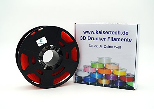 Kaisertech Filament für 3D Drucker 1kg PLA/ABS 1.75mm / 3mm - Premium Qualität & verschiedene Farben für MakerBot RepRap MakerGear Ultimaker uvm. (PLA 1.75mm, Transparent Rot)