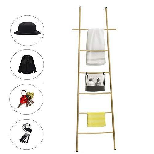 M-TOP Ladder Deken Rack Zwart, Decoratieve Rustieke 6-Rung Deken Ladder Organizer, Wandleunend Badkamer Handdoek Rack Houders roestvrij staal, Quilt Hangende Bar Rack Organizer