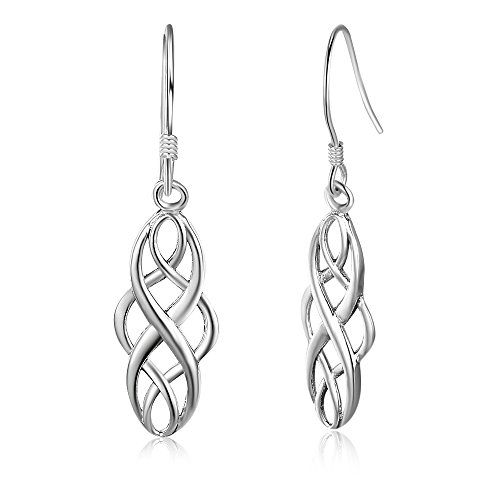 925 Sterling Silver Infinity Love Charm Celtic Knot Drop Religious Style Earrings