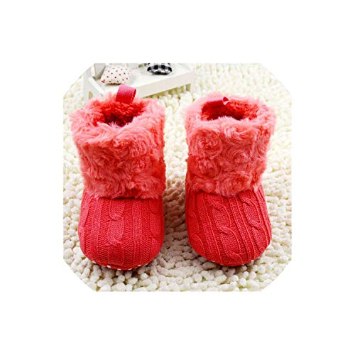 Baby Girls Shoes Toddler Warm Winter Boots Soft Sole Prewalker Baby Shoes,Red,0-6 Months