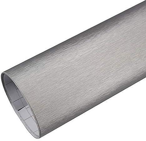 Tiptopcarbon 10 94 M Autofolie Alu Gebürstet Silber 0 3m X 1 52m Auto Folie Blasenfrei Mit Luftkanälen 3d Flex Küche Haushalt