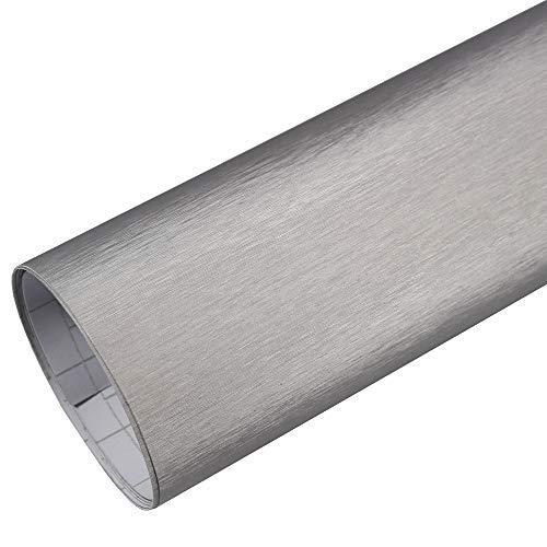 Rapid Teck® 5,26€/m² Premium – Aluminium Alu gebürstet Silber 50cm x 1,52m Auto Folie Blasenfrei mit Luftkanälen für Auto Folierung und 3D bekleben in Matt Glanz und Carbon Autofolie