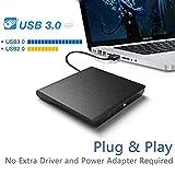 Externes CD DVD Laufwerk USB 3.0, Qibaok CD DVD-RW Brenner Laufwerk für Windows Vista/XP/7/8/10 /...