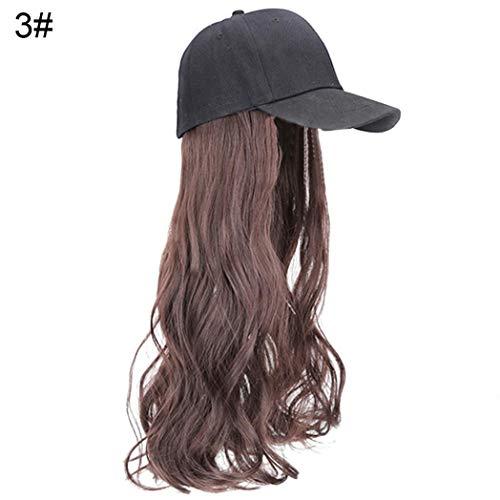 Kimchisxxv Pruik, voor dames, 2 in 1 lange gladde krullende haren, met baseball-hoed, synthetische pruiken, party