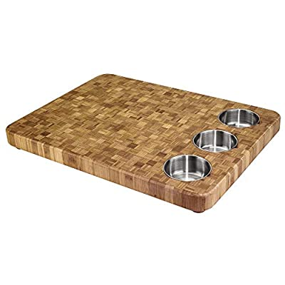 Totally Bamboo 3-Bowl Bamboo Butcher Block with Stainless Steel Prep Bowls