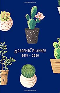 Academic Planner 2019 – 2020: Modern Cover of Cactae Illustration – Diary / Agenda (Sep-Aug) with monthly calendars + timetable / schedule + ... spread (5,5 x 8,5 inches, durable soft cover)