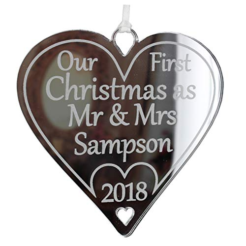 Our First Christmas as Mr & Mrs Bauble 2020 Personalised Newlyweds Tree Decoration 1st Year Married Surname Gifts Husband Wife Ornament (Silver Mirror, 10cm Heart - Classic)