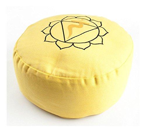 Yogakissen Solarplexuschakra Manipura Chakra Meditationskissen Gelb Rund 36 cm Hoch 15 cm | Waschbarer Bezug aus Baumwolle | Yoga Sitzkissen Meditation | Esoterik Geschenke günstig kaufen
