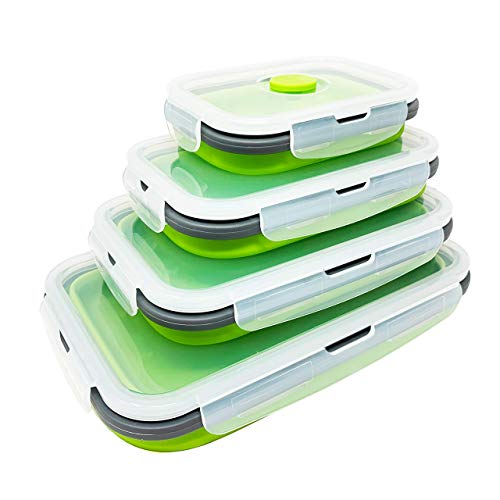 Set of 4 Collapsible Silicone Food Storage Container, Leftover Meal...