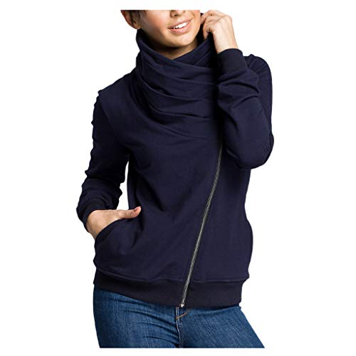 Sweat Femme Pas Cher à La Mode Casual Chic Sexy Mode Sweatshirts à Manches Longues Fermeture à GlissièRe Diagonale Pullover Col Roulé Blouse De Sport
