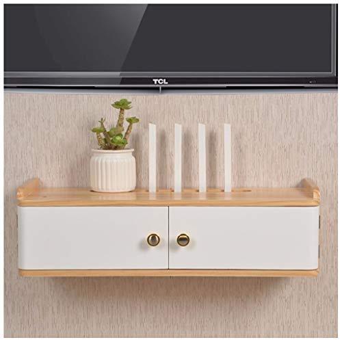 LZG Wand befestigt Schwimmdock Medien Regal mit Tür for Kabelbox/WiFi Router/Remotes/DVD-Player, Holz TV-Konsole Speicher Hutch for Haus und Büro (Größe : Medium)